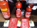 Fire extinguishers blankets spill kits
